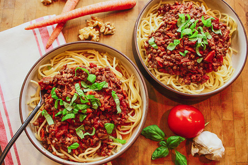 Lentil Walnut Bolognese with Spaghetti