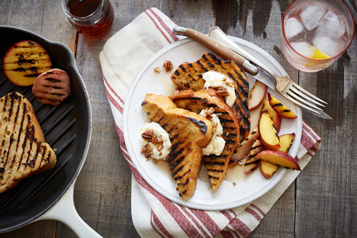 Grilled Peach, Apricot and Sweet Ricotta Layered Bread Pudding