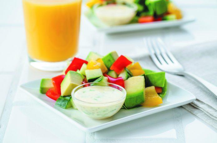 Avocado Cucumber Salad with Chia Yogurt Dressing