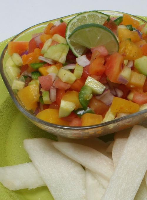 Papaya Salsa with Jicama Chips